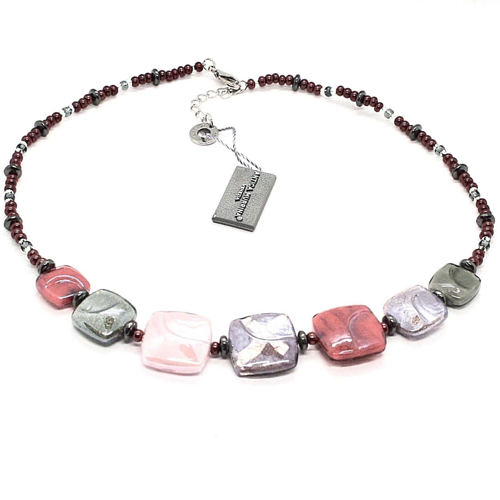NECKLACE ANTICA MURRINA VENEZIA WITH MURANO GLASS PURPLE PINK GREEN CO989A11