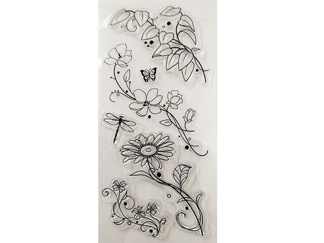 Mixed Floral Stamp Set, Flowers and Leaves