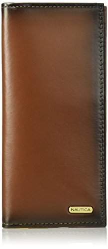 Nautica Men's 100% Leather Secretary Checkbook Wallet Organizer