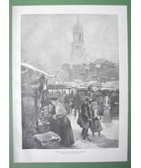 CHRISTMAS Open Market in Hamburg - VICTORIAN Original Engraving - $13.17
