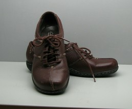 Clarks Bendables Brown Leather SHOES Woman's 8 M Lace Up VGC - $15.83