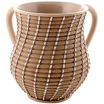 Judaica Poly Resin Brown White Hand Washing Cup Netilat Yadayim Natla Raffia
