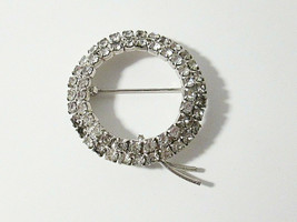 Vintage Crystal Rhinestone Double Circle Wreath Brooch Pin Silver Tone M... - $7.99