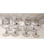 Set of 8 Crystal Wine Glasses with White and Silver Roses Design - $17.81