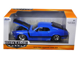 1970 Ford Mustang Boss 429 Blue 1/24 Diecast Model Car by Jada - $34.30