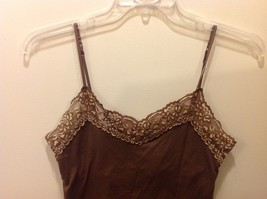 New York & Co Intimates Brown Cami w Floral Lace Trim Sz L image 2