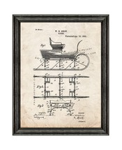 Sleigh Patent Print Old Look with Black Wood Frame - $24.95+