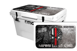 "RTIC Wrap ""Fits Old Mold"" 65qt Cooler 24mil Lid Kit USA Ammo Skull Red Line - $36.95"