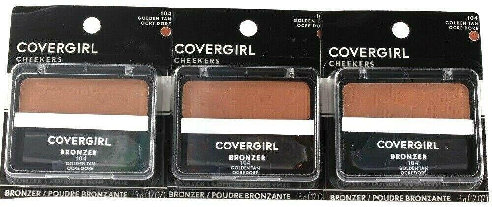 3 Count Covergirl 0.12 Oz Cheekers 104 Golden Tan Soft Powdered Sun Kiss Bronzer - $23.99