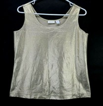 db2157e98d3bdf Chico's Womens Size 1 Nylon Blend FItted Scoop Neck Wide Strap Metallic