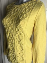 Talbots Classic Womens Yellow Cable Knit Sweater Top -Wool Blend- L Large - $14.84