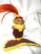 "MERMAID ROOTIE TROLL 3"" doll ooak vintage Dress Gown beach sexy autumn f... - $24.75"