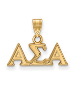 Ss/Gold Plated Sterling Silver With Gp Logoart Alpha Sigma Small Pendant... - $33.57