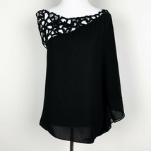 Robbie & Nikki Womens One Shoulder Draped Blouse Top Black Size Small - $24.13