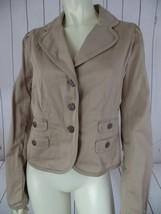 Ann Taylor Loft Blazer 6 Stretch Khaki Tan Cotton Button Front Pockets Chic - $43.55