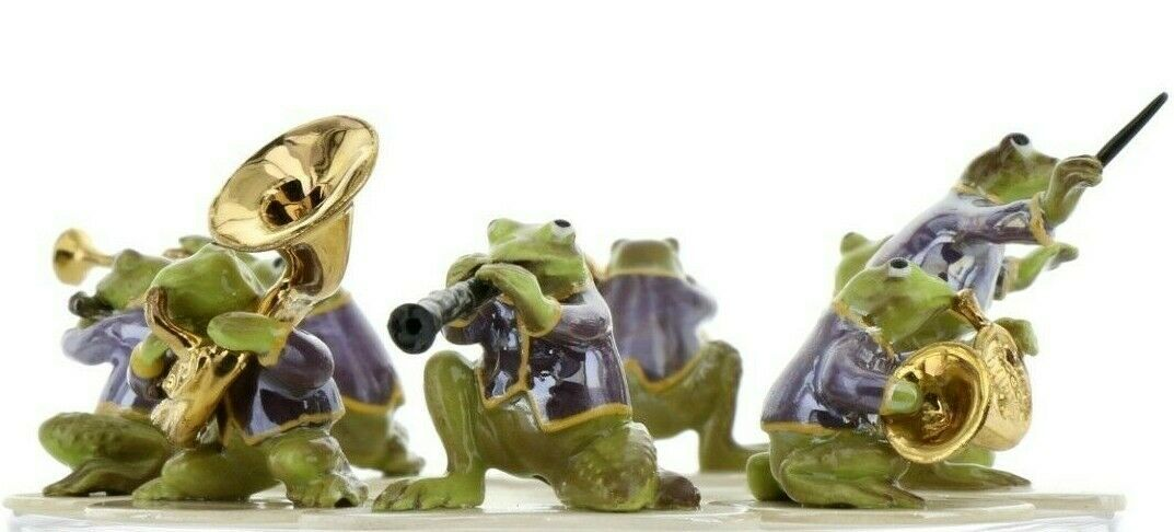 Hagen Renaker Miniature Toadally Brass Frog Band Complete 8 Piece Set