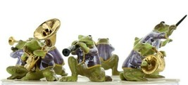 Hagen Renaker Miniature Toadally Brass Frog Band Complete 8 Piece Set image 1