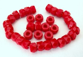 25 6 x 4mm Czech Glass Facetted Crow Beads: Opaque Red - $2.41