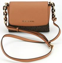 Michael Kors Shoulder Cross Body Bag Sofia Brown and Acorn Small Handbag - $231.22