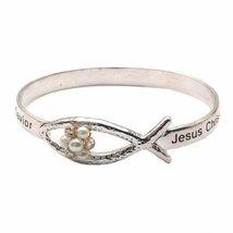 Inspired Silver Elegant Inspirational Silver Ichthus Bangle Bracelet wit... - $29.35