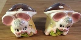 Vintage Ceramic ENESCO Missy Mouse Mushroom Salt Pepper Shaker E-1164 Japan - $21.76