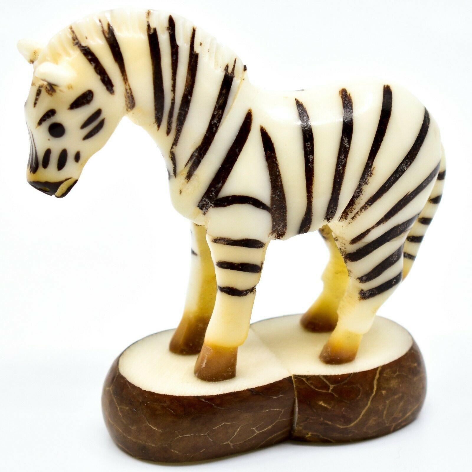 Hand Carved Tagua Nut Carving Zebra Figurine Made in Ecuador