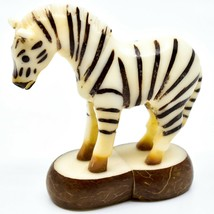 Hand Carved Tagua Nut Carving Zebra Figurine Made in Ecuador