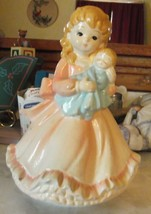 Vintage Schmid Rotating Music Box Girl Holding Dolly - $9.49
