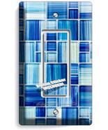 BLUE GLASS TILES LOOK single GFI LIGHT SWITCH WALL PLATE KITCHEN BATHROOM DECOR - $8.97