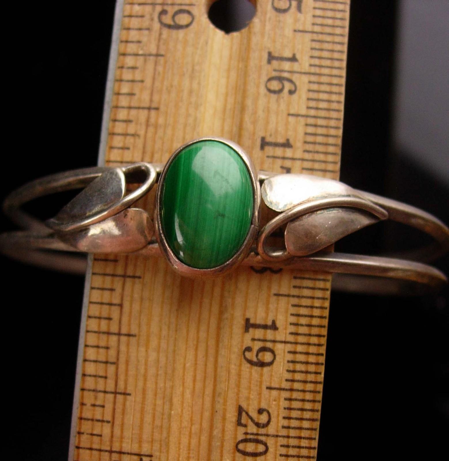 vintage Malachite Bracelet -irish green - Sterling ivy Silver Cuff Wrap - Artisa