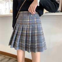 Women Navy Plaid Pleated Skirt Winter Wool Short Plaid Pleated Skirt Plus Size image 2