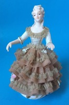 Porcelain Victorian Lady Figurine Dresden Lace Gown Rose Arms Away Unsigned 6492 - $249.99