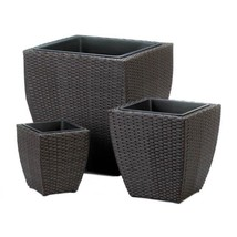 Three Tuscany Polyrattan Wicker Indoor/Outdoor Planters Removable inner ... - ₹7,478.41 INR