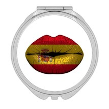 Lips Spanish Flag : Gift Compact Mirror Spain Expat Country For Her Woma... - $12.99