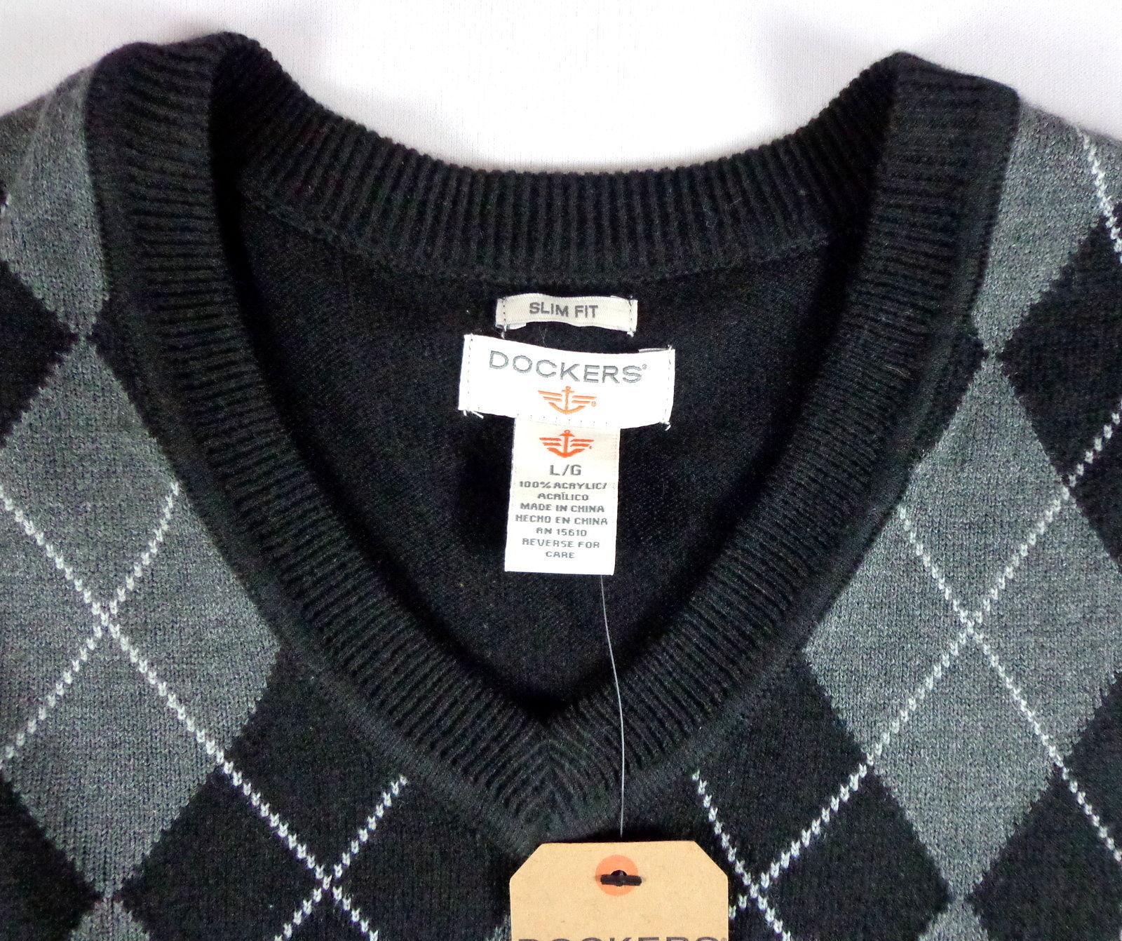Dockers Men's Slim Fit V-Neck Sweater Vest Size L Black Gray Argyle