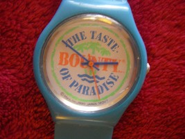Vintage Mars BOUNTY chocolate candy bar logo watch 1990 blue Taste of Pa... - $26.99