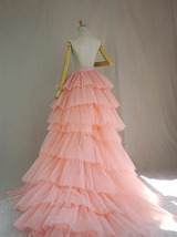 High Low Tiered Tulle Skirt Layered Tulle Skirt with Train Blush Bridal Gowns image 5