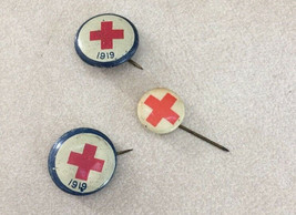 Lot 3 Vintage Antique 1919 International Red Cross Society Button Pinbac... - $100.00