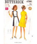 Vintage 1960's Misses' A-LINE DRESS Butterick Pattern 4795-b Size 14 - $10.00