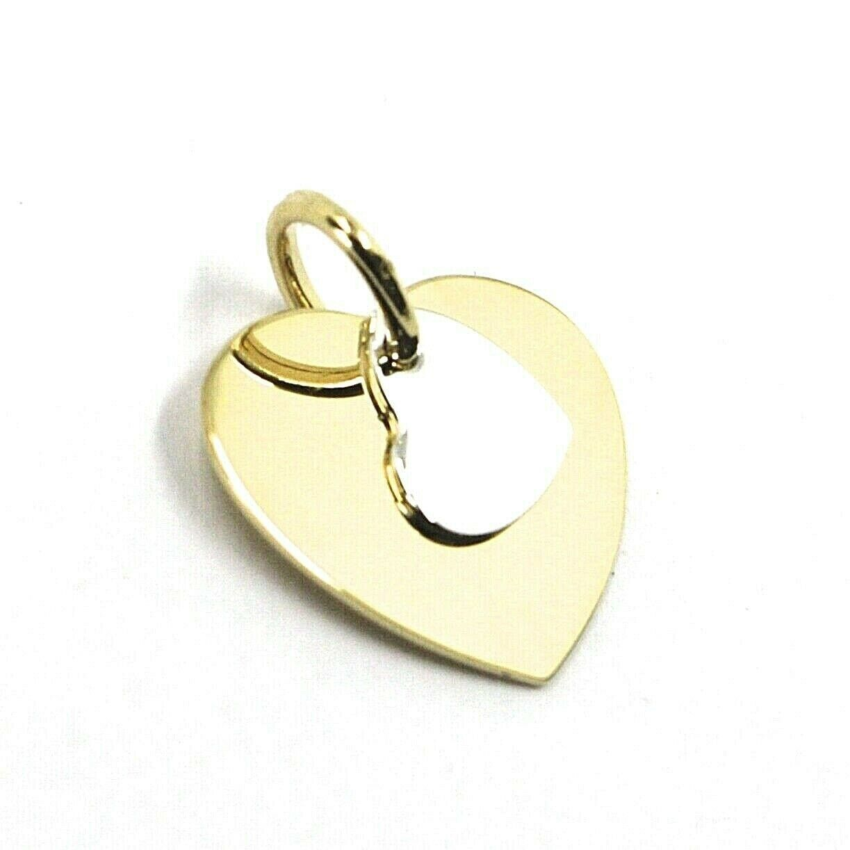 18K YELLOW WHITE GOLD PENDANT DOUBLE FLAT HEART, LENGTH 12mm, 0.47 inches