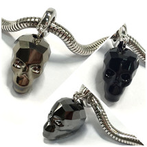 Swarovski European Fit Bracelet Charm Stainless BeCharmed Pave Skull Pen... - $21.12