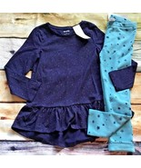 Gymboree 5 6 Mix N Match Navy Peplum Top Star Warm & Fuzzy Leggings NWT ... - $18.99