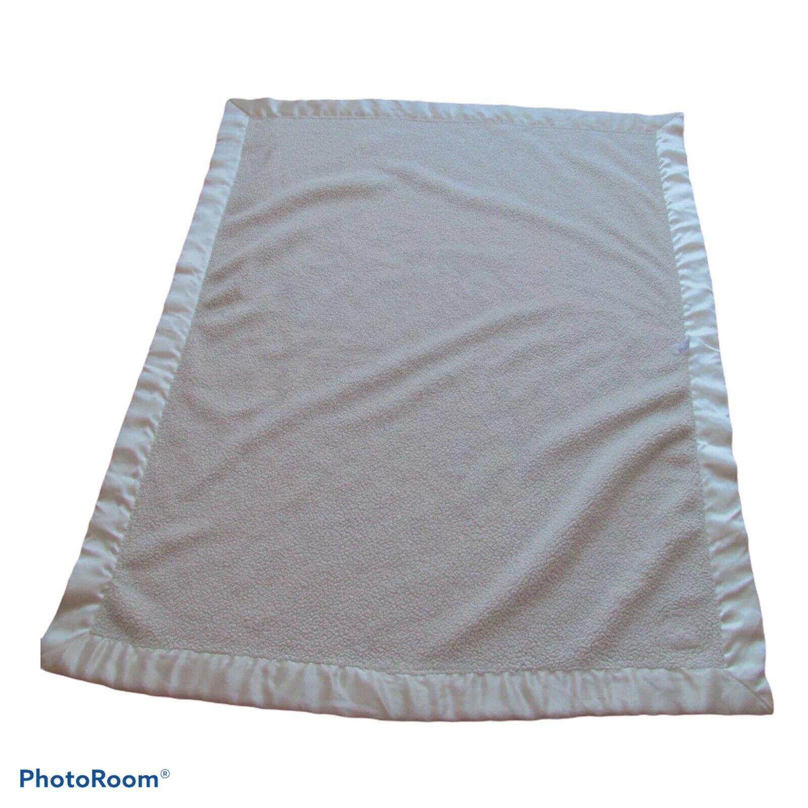 Baby Gap Beige Off White Cream Blanket Corner Bear Patch Satin Thick Sherpas - $54.44