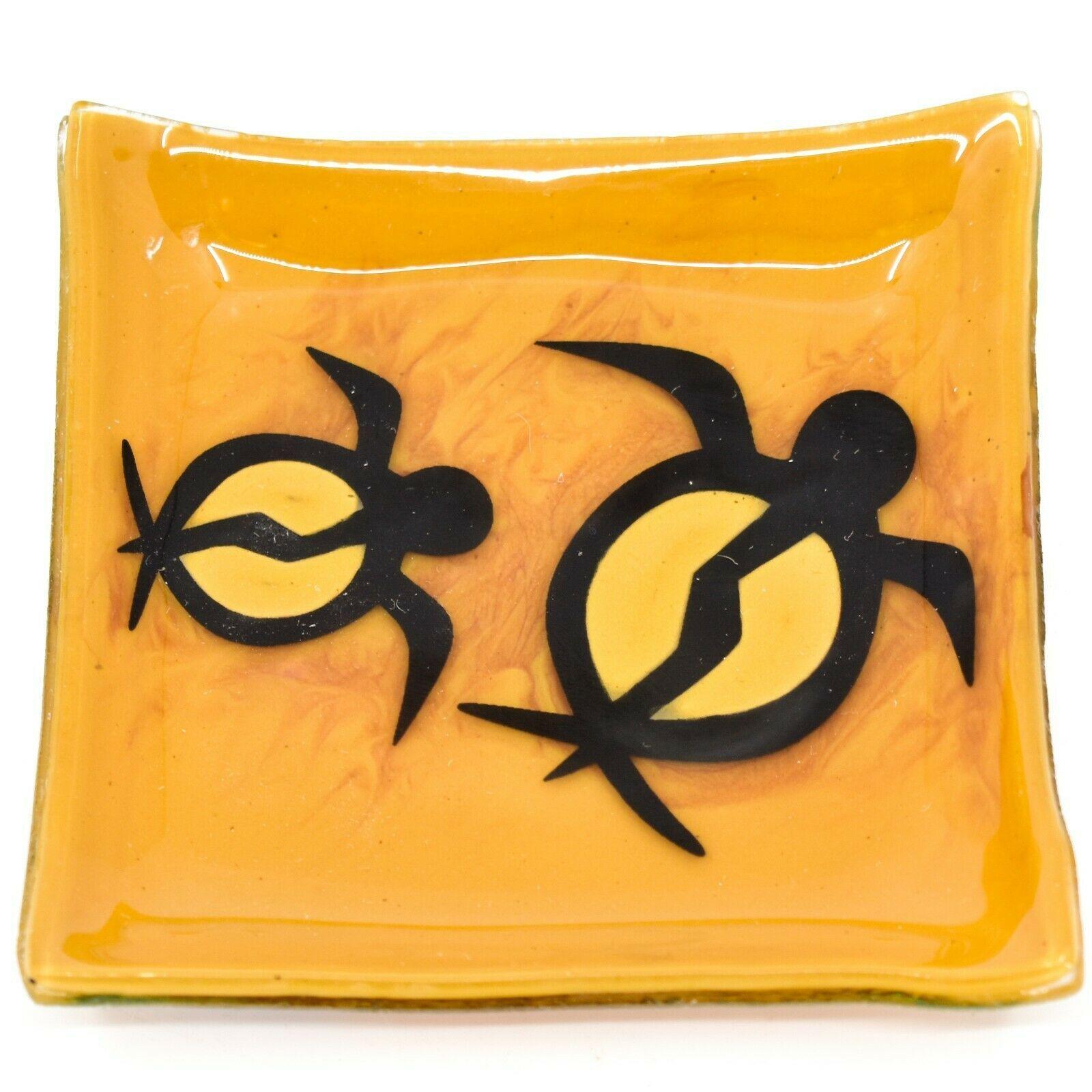 Fused Art Glass Honu Sea Turtle Design Soap Dish Handmade Ecuador