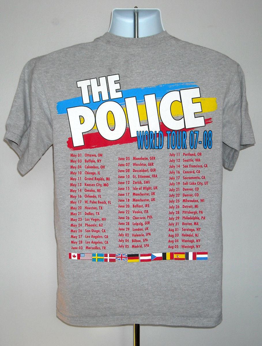 MENS THE POLICE WORLD TOUR 07-08 T SHIRT MEDIUM ROCK BAND