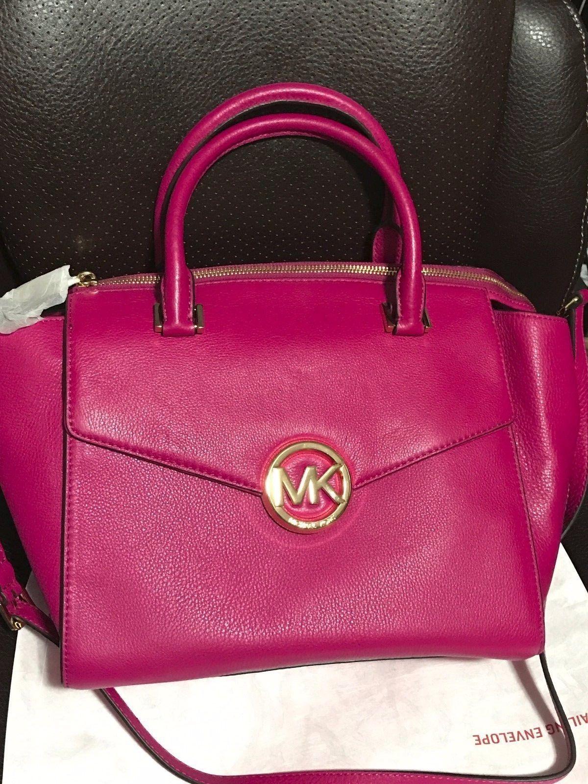 Michael Kors Hudson Leather Large Satchel in Violet