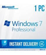 Microsoft Windows 7 Pro - Full Retail 64-Bit 60sec Digital Delivery Win7Pro - $24.99