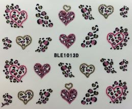 Bang Store Nail Art 3D Decal Stickers Glittery Leapard Print Hearts Funny Cute - $3.68