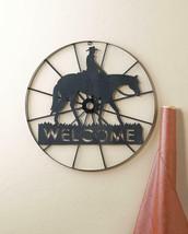 "24"" Old West Iron Wagon Wheel Cowboy Welcome Wheel Sign Wall Decor Art - $39.81"