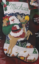 Bucilla Santas Coming to Town Rudolph Reindeer Christmas Felt Stocking Kit 84941 - $79.95